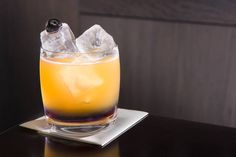 Howard Hughes. 2 oz. Courvoisier Exclusif cognac, ¾ oz. fresh lemon juice, ¾ oz. Luxardo maraschino syrup, 1 oz. Rothman & Winter Crème de Violette, Luxardo soaked brandy cherry (garnish). Pour Crème de Violette into an old-fashioned glass. Add ice. Build the cognac, lemon juice and maraschino syrup in cocktail shaker with ice. Shake and strain into old-fashioned glass. Garnish with cherry.
