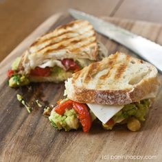 Smashed Chickpea and Avocado Panini with Asiago Cheese and Basil Pesto
