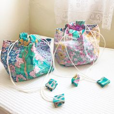 Liberty Quilt, Liberty Bag, Liberty Of London Fabric, Liberty Fabric, Japanese Quilts, Rice Bags, Mini One, Fabric Beads, Little Bag