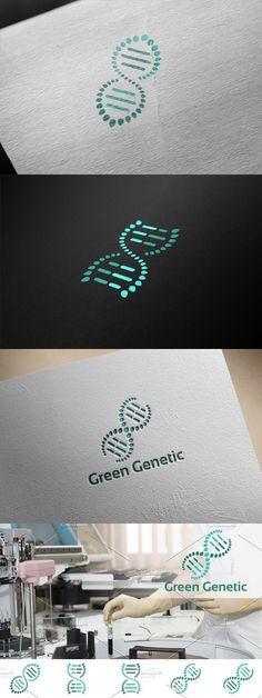DNA Green Leaf Genetic Logo Symbol