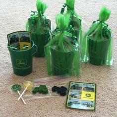 Goodie bags: John Deere cups, suckers, stickers, and homemade tractor crayons!