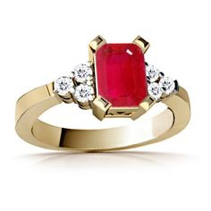 Emerald Cut Ruby and Round Diamond Ring - Custom Jewelry | Angara.com