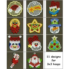 """Free Standing Lace """"Christmas Tags"""" These festive #freestandinglace gift tags are the perfect way to say Merry Christmas this season. Each is just beautiful, and includes an eyelet to tie them to gifts or even use as ornaments on trees or windows! Great as package tie-ons and card inserts!"""