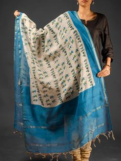 Multicolor Hand Block Printed Chanderi Dupatta With Zari Available At http://www.eindianaugust.com/dupattas-and-stoles/dupattas/chanderi-dupattas