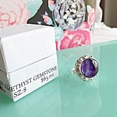 NIB AMETHYST GEMSTONE STERLING SILVER SIZE 8 RING Size: 865.00‼️Elegant purple amethyst gemstone ring with 925 SS overlay. COMES WITH BOX NO TRADES ❌QUESTIONS FROM NON SERIOUS BUYERS DO NOT ASK FOR A BUNDLE UNLESS YOU INTEND TO BUY ✂️DO NOT LOWBALL ⛔️NO PRICE COMMENTS-USE OFFER BUTTON ⁉️PRICE IS FIRM AND REFLECTED ON FEES AND OUT OF POCKET COSTS Brooke's Gems Jewelry Rings