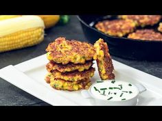 Corn Fritters are an amazing dish you can prepare for breakfast, lunch or dinner or even as an appetizer. Making these delicious fritters with fresh corn it . Potato Patties, Corn Fritters, Frozen Corn, Le Diner, Calories, The Fresh, Salmon Burgers, Food Photo, Vegetable Recipes