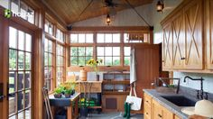 Potting shed with windows in 3 sides