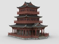 chinese building 3D Chinese Buildings, Ancient Chinese Architecture, China Architecture, Roof Architecture, Japanese Architecture, Architecture Drawings, Futuristic Architecture, Minecraft Japanese House, Japanese Temple