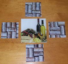 Wine Bottles Trivet and Cork Stoppers Coasters Under Beveled Glass