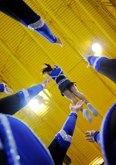 of injuries most commonly result from a stunt. It stands to reason that a focus on reducing the number of falls from stunts can result in a lower injury rate in cheerleading. Cheerleading Photos, Cheer Stunts, Cheer Dance, Cheer Coaches, Cheer Mom, Basket Toss, Cheer Pictures, Cheer Pics, Volleyball Pictures