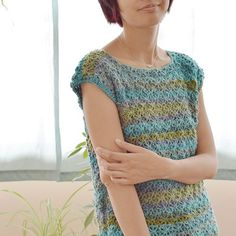 A remake of the Pastel dress, with a yarn that reminds me of the seashore -- the different shades of blue in the distance, the greens of algae and seaweed washed up on the rocks. Free Crochet, Knit Crochet, Crochet Tops, Tunisian Crochet, Shrugs And Boleros, Crochet Shirt, Crochet Woman, Crochet Clothes, Crochet Dresses