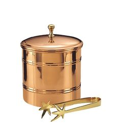 Old Dutch Decor Copper-Lined 3-Qt. Ice Bucket with Brass Tongs