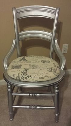 After picture of Silver desk chair with a French motif fabric