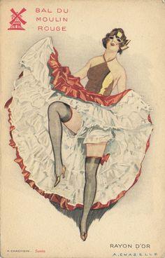 Bal du Moulin Rouge à Pigalle (Paris) Vintage Post Card. Vintage Postcards, Vintage Images, French Vintage, Vintage Art, French Postcards, Le Moulin Rouge Paris, Moulin Rouge Dancers, Illustrations, Illustration Art