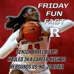 #FridayFunFact - Senior Ariel Butts hauled in a career-high 10 rebounds vs. No. 20 Iowa