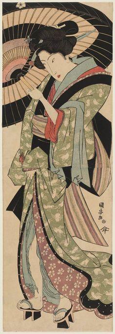 Woman with Umbrella by Utagawa Kuniyasu: