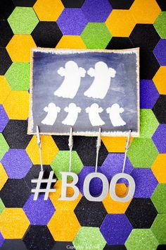 DIY hexagon backdrip + Halloween Family Ghost Printable