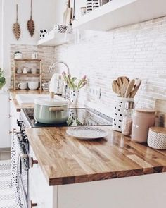 White brick backsplash butcher block counter tops for small modern farmhouse kit. White brick backsplash butcher block counter tops for small modern farmhouse kitchen The decoration of home is much like. Cute Home Decor, Home Decor Kitchen, Design Kitchen, Kitchen Interior, French Kitchen Decor, Interior Livingroom, French Decor, Küchen Design, Home Design