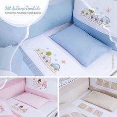 Kit de Berço Bordados Papi com cortinado.  Tamanho Americano - 08 Pçs    Acesse o site  www.lojapapi.com.br, procure pelo código 2791 e conheça mais opções de cores e bordados!      #kitdeberço #bordado #Americano #enxovaldebebe #lojapapi #papitextil #bebe #baby #conforto #mamae Baby Duvet, Cot Bedding, Baby Pillows, Linen Bedding, Baby Crafts, Cool Baby Stuff, Baby Sewing, Bed Sheets, Baby Room
