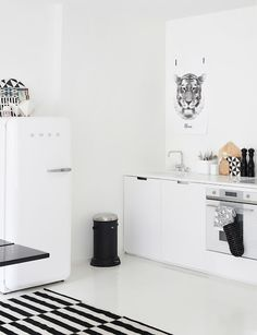 Vipp trash can and Smeg fridge