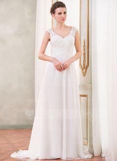 A-Line/Princess V-neck Sweep Train Chiffon Wedding Dress With Lace Beading Sequins (002042294) - JJsHouse