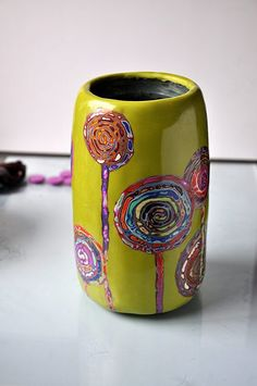 Stunning polymer clay vase by beefball papa. Polymer Clay Sculptures, Polymer Clay Miniatures, Polymer Clay Projects, Polymer Clay Creations, Polymer Clay Beads, Sculpture Clay, Clay Bowl, Clay Vase, Clay Tutorials