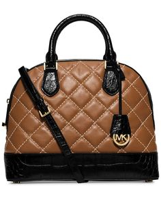 MICHAEL Michael Kors Smythe Large Dome Cross Stitch Satchel Brown Leather Tufted Shoulder Strap Handbag Designer Fashion