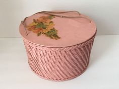 Vintage PINK PRINCESS Round Sewing Basket Wicker Floral Motif Box Shabby Chic