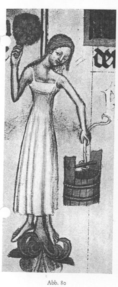 Bohemian Bathhouse Babes/Keepers - sleeveless chemise w/ back scrubber and bucket - Wenceslaus Bible