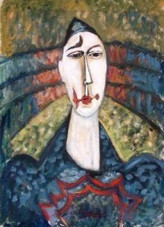 Gabriel ZENDEL (1906-1992)  Le clown Gouache, signée en bas au centre. 63 x 46 cm