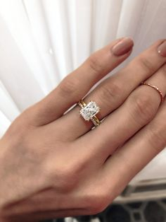 Feeling radiant 😍 Notice the ultra fine split prongs on this beau? Well you should see the exposed sides. 😱 Designed to sit perfectly flush to our wedding bands, the result is absolute elegance and the most refined of pairings 💕 Radiant Cut Engagement Rings, Dream Engagement Rings, Engagement Ring Cuts, Radiant Cut Diamond, Diamond Cuts, Wedding Bands, Wedding Ring, Wedding Decor, Dream Wedding