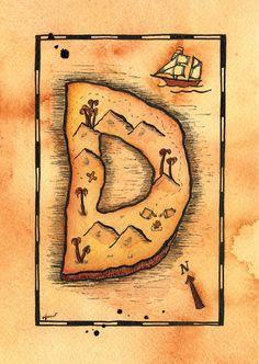 Letter D Treasure Map / 5 x 7 PRINT of Watercolor
