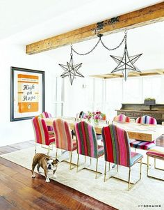 LIGHTS - Brooklyn Decker and Andy Roddick Dining Room Texas Farmhouse