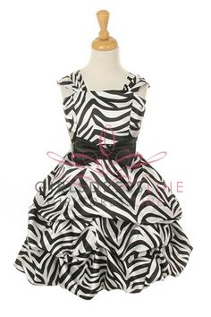 Red Zebra Print Pick Up Dress with Sash Flower Girl Dress