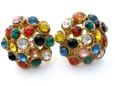 Multi Colored Rhinestone Earrings Czech Vintage