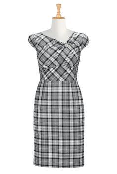 Plaid Fall Dresses, Bow Sheath Dresses Shop women's Full sleeve dresses - love love love