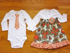 Brother Sister Matching Outfits Girls by HandmadebyJennBaker Tie Onesie, Bodysuit Dress, Twin Outfits, Matching Outfits, Sibling Shirts, How To Have Twins, Cute Outfits For Kids, Brother Sister, Sisters
