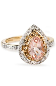 Excuse us while we pick our jaws up off the floor. Have you ever seen a piece as beautiful as this pear shape morganite? How appropriate it is that such a beautiful center stone is accompanied by champagne and white diamonds. | .90ct Morganite, .18ctw White And .08ctw Champagne Diamond Accent 10k Rose Gold Ring