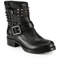 Valentino Noir Rockstud Leather Biker Boots ($1,665) ❤ liked on Polyvore featuring shoes, boots, apparel & accessories, black, engineer boots, valentino boots, leather engineer boots, leather boots and leather motorcycle boots