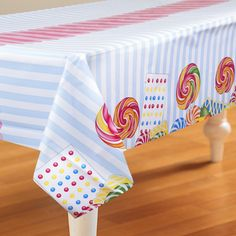 Complete Your Look With Candy Shoppe Plastic Tablecover. Elegent range of Candy Shoppe Plastic Table Covers for Birthday at PartyBell. Candy Crush Party, Candy Party, Stall Decorations, Candy Land Theme, Diy Party, Party Ideas, Gingerbread Decorations, 3rd Birthday Parties, Birthday Ideas