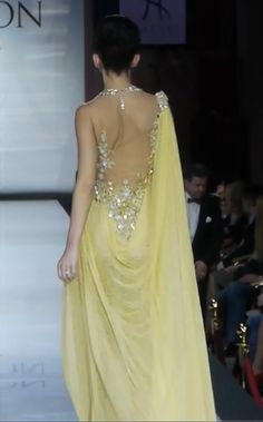 #YellowGown  #HayariParis #SheerTrail Yellow Prom Suit, Yellow Gown, Prom Dresses, Formal Dresses, Wedding Dresses, Pink Cocktails, Couture Collection, Pastels, Evening Gowns