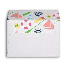 #Preppy Nautical Theme Pink Lined Envelope - #giftideas for #kids #babies #children #gifts #giftidea
