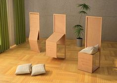 "Biombo Combination Furniture #smallspaceorganization #smallspacedecor trendhunter.com  Another excellent reframe of the ""folding chair."""