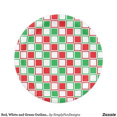 Red, White and Green Outlined Squares Paper Plate