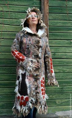 """Купить Пальто валяное """"Кошка на раскаленной крыше"""" - рисунок, кошка, пальто зимнее, пальто с капюшоном"""