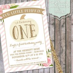 Our Little Pumpkin birthday invitation w/ soft pink background and watercolor flowers.    Perfectly sweet for a first birthday celebration! By pixels and ice cream