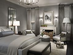 Beautiful bedroom. Love the grays.