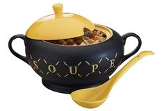 "Sale One Kings Lane $12  ""Soup"" Tureen with Ladle  GLOBAL AMICI"