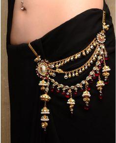Pearl Tasseled Sari Belt with Layered Jhumki Drop