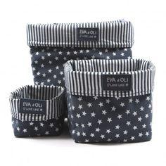 Boîte de rangement Bleu marine - Etoiles argent  Eva & Oli